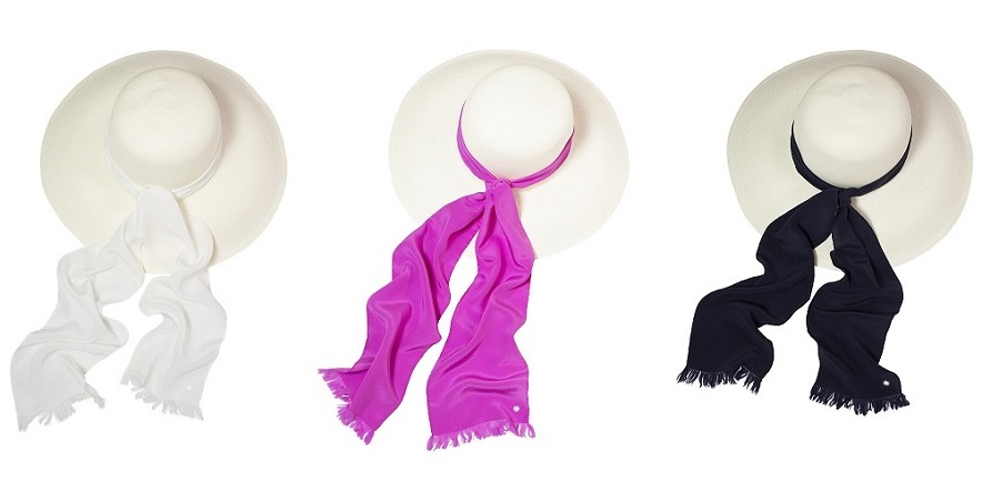 Skinny Scarf - White, Deep Pink, Navy - Hat (2x1)